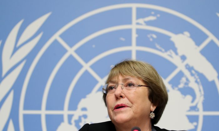 U.N. High Commissioner for Human Rights Michelle Bachelet attends a news conference at the United Nations in Geneva, Switzerland, on Dec. 5, 2018. (Denis Balibouse/Reuters)