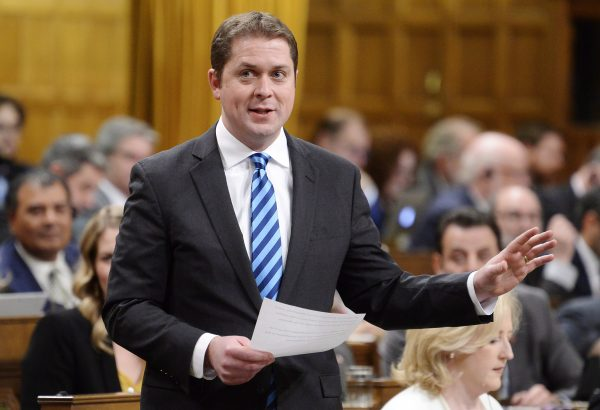 Leader of the Opposition Andrew Scheer rises during question period in the House of Commons on Parliament Hill in Ottawa on Dec. 4, 2018. (THE CANADIAN PRESS/Adrian Wyld)
