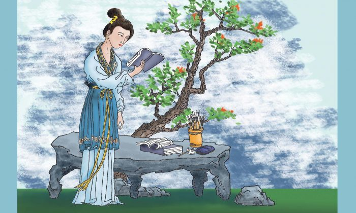 In ancient China, an expectant mother should read essays and poems. (Illustration by Sun Mingguo/the Epoch Times)