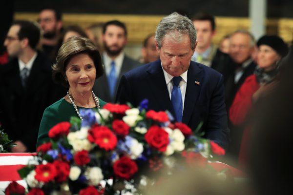 Former first lady Laura Bush and George Bush