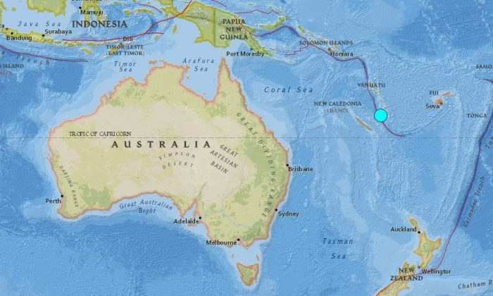 The location of the epicentre of the earthquake. (USGS)