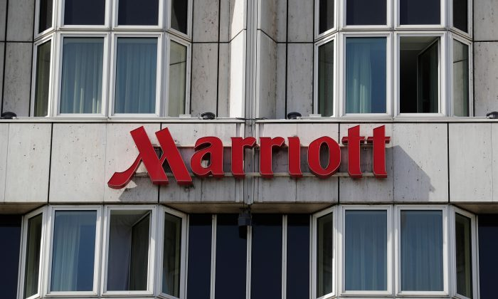 Logo of Marriott hotel is seen in Vienna, Austria on Apr. 9, 2018. (Heinz-Peter Bader/Reuters)