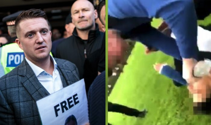 L—English Defence League Activist Tommy Robinson, whose real name Stephen Yaxley-Lennon, greets supporters after his court case on was adjourned on Sept. 27, 2018 in London, England. R—A schoolboy at a South Yorkshire school is captured on video bullying another pupil, pouring water in his mouth as he pins him down. (Jack Taylor/Getty Images; Screengrab/Twitter)
