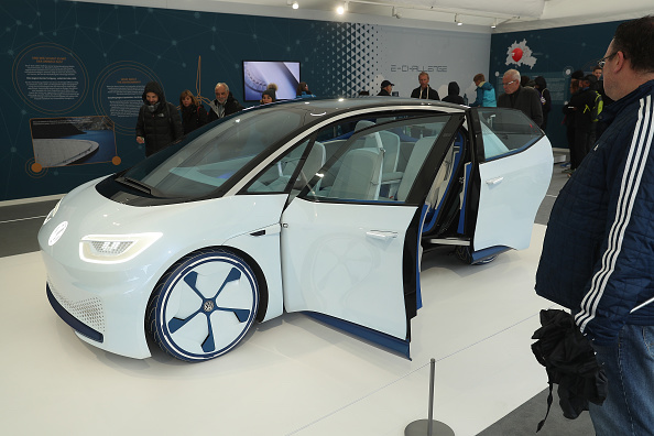 A Volkswagen Concept I.D. electric car stands in the Volkswagen tent during celebrations to mark German Unity Day on October 2, 2018 in Berlin, Germany. (Photo by Sean Gallup/Getty Images)