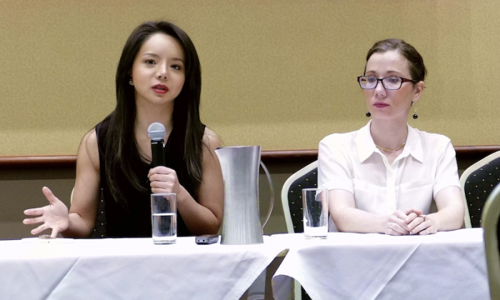 Anastasia Lin (L) and Dr Sophia Bryskine of Doctors Against Forced Organ Harvesting (R) at a panel discussion on forced organ harvesting in China in Sydney, Australia, on Dec. 5, 2018. (Loritta Liu/The Epoch Times)