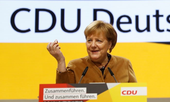 German Chancellor Angela Merkel speaks at the Christian Democratic Union (CDU) party congress venue in Hamburg, Germany, on Dec. 6, 2018. (Kai Pfaffenbach/Reuters)
