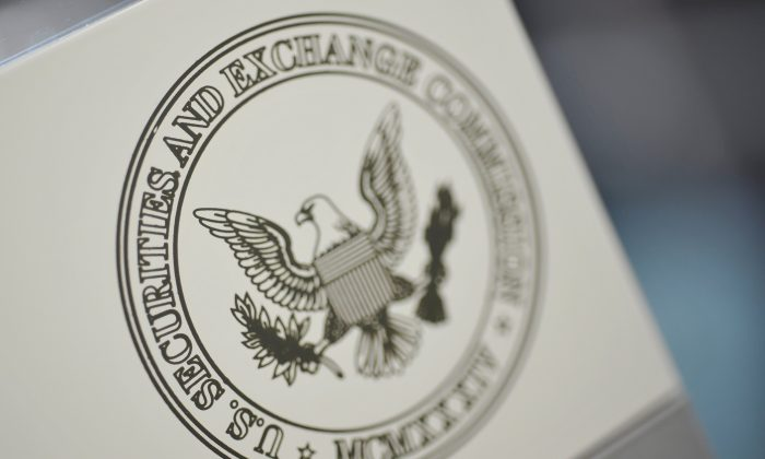 The U.S. Securities and Exchange Commission logo adorns an office door at the SEC headquarters in Washington, on June 24, 2011. (Jonathan Ernst/File Photo/Reuters)