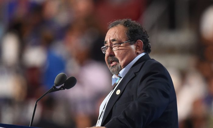 US House Rep. Raul Grijalva (D-Ariz.) speaks during Day 1 of the Democratic National Convention at the Wells Fargo Center in Philadelphia, Pennsylvania, July 25, 2016. Grijalva is likely to be the next chair of the House Committee on Natural Resources. (ROBYN BECK/AFP/Getty Images)