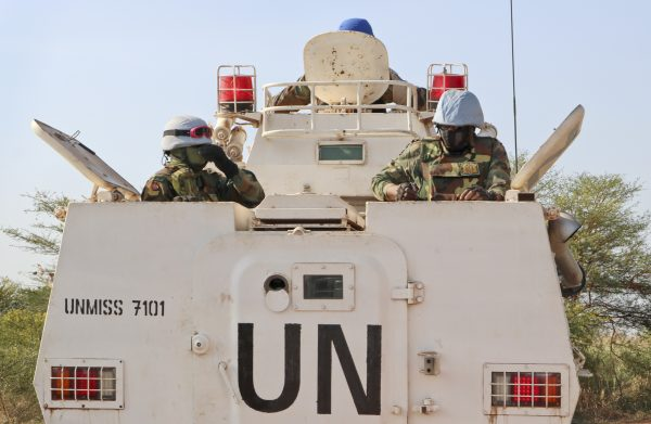 UN peacekeepers in armored carrier
