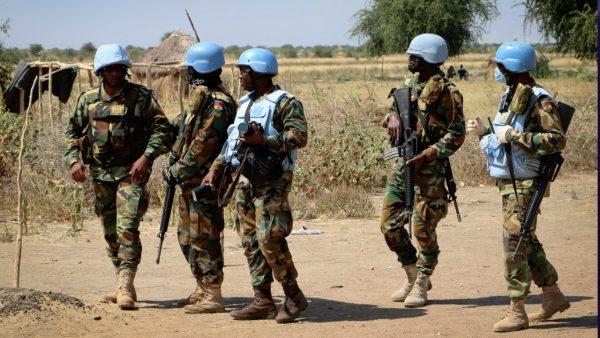 UN peacekeepers make a patrol