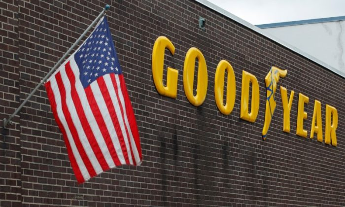 A U.S. flag flies at a Goodyear Tire facility in Somerville, Massachusetts, U.S., July 25, 2017.   (Brian Snyder/Reuters)
