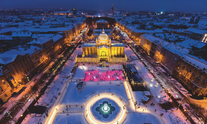 Zagreb puts on its best colors for Advent season, offering dozens of attractions, such as ice skating in King Tomislav Square. (D. Rostuhar/Zagreb Tourist Board)
