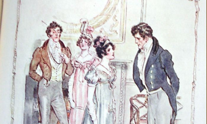 "Anne and Captain Wentworth speak in spite of Anne's snobbish father and sister, in the background. Illustration by C. E. Brock, in the 1909 edition of ""Persuasion."" (Public Domain)"