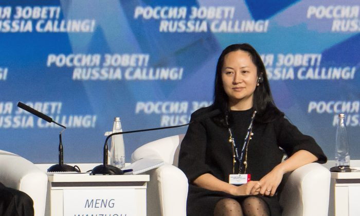 Huawei chief executive officer Meng Wanzhou attends an event in Moscow on Oct. 2, 2014. (Alexander Bibik/Reuters)