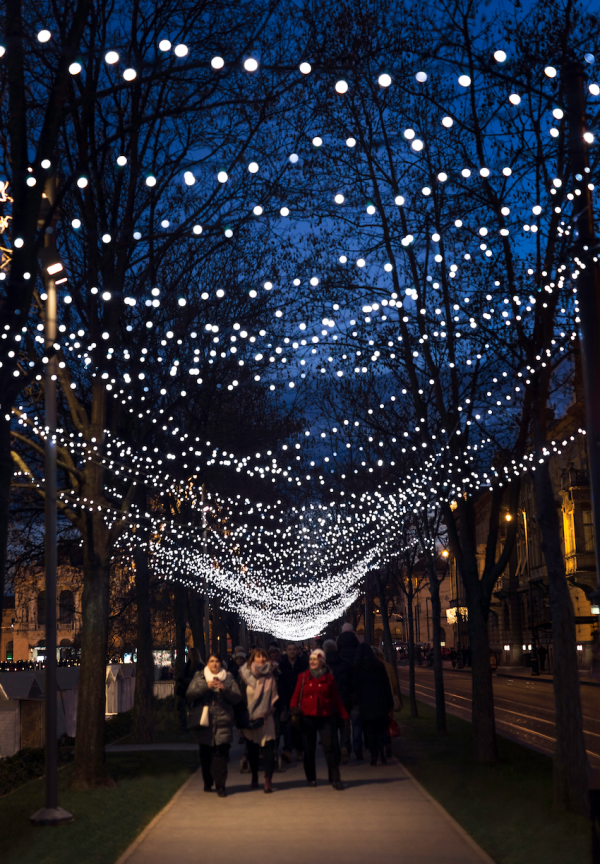 christmas lights hang above streets in zagreb advent