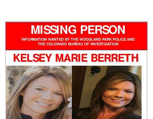 A missing person poster for Kelsey Berreth, who was last seen in Woodland Park, Colo., on Nov. 22, 2018. (Woodland Park Police Department)