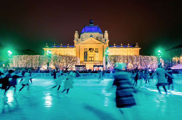 people ice skate in zagreb advent ice rink