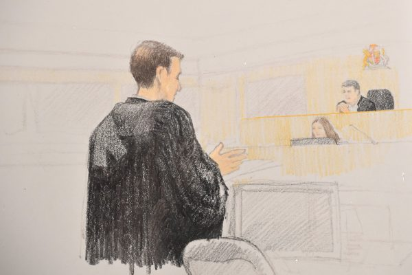 In this courtroom sketch, John Gibb-Carsley, a lawyer for Canada's attorney general, addresses a bail hearing for Huawei executive Meng Wanzhou at B.C. Supreme Court in Vancouver, on Dec. 10, 2018.