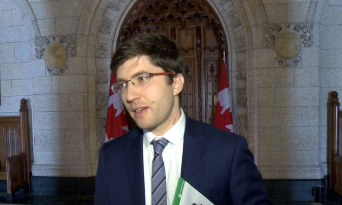 Conservative MP Garnett Genuis speaks to NTD Television on Parliament Hill on Dec. 10, 2018, after a Senate bill he put forward to combat organ trafficking passed second reading in the House of Commons. (NTD Television)
