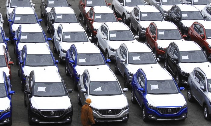 MG cars produced by SAIC Motor Corp (Shanghai Automotive Industry Corporation) waiting to be exported to the U.S. at a port in Lianyungang in Jiangsu Province, China on May 26, 2018. (AFP/Getty Images)