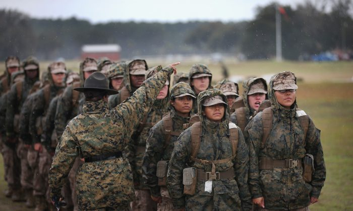 Marine recruits during boot camp at MCRD Parris Island, South Carolina on Feb. 25, 2013. (Scott Olson/Getty Images)