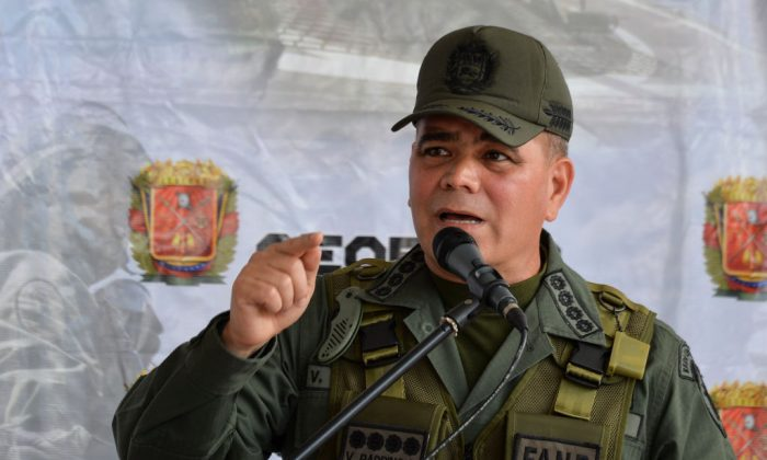 "Venezuelan Defence Minister, general Vladimir Padrino Lopez, delivers a speech during the launching ceremony of the ""Plan Republica"", the security operation for the presidential election on May 20, in Caracas, on May 15, 2018. (Luis Robayo/AFP/Getty Images)"