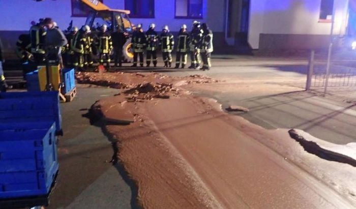 Spilt chocolate is seen on a road in Werl, Germany, on Dec. 10, 2018, in this picture obtained from social media.  (WERL Fire Department/via Reuters)