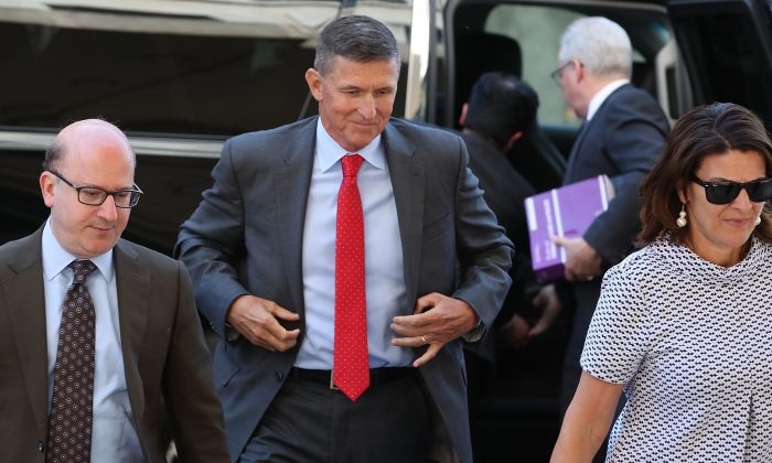 Michael Flynn, former national security advisor to President Donald Trump, arrives at the E. Barrett Prettyman Federal Courthouse in Washington on July 10, 2018. (Mark Wilson/Getty Images)