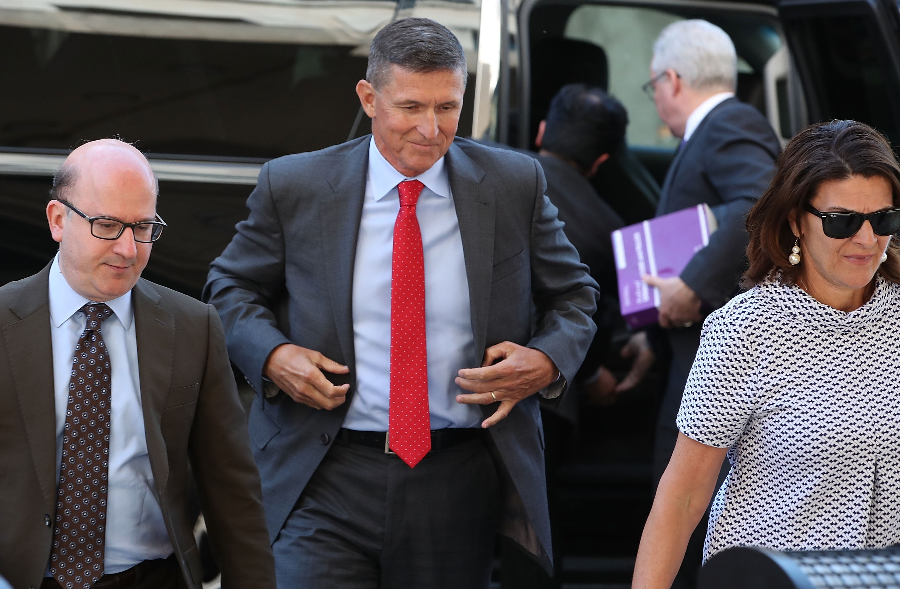 Michael Flynn, former national security advisor to President Donald Trump, arrives at the E. Barrett Prettyman Federal Courthouse in Washington