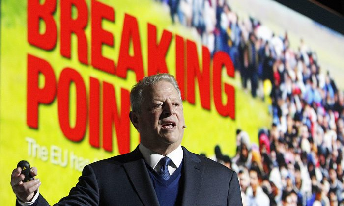 Climate activist Al Gore makes a speech during the COP24 U.N. climate summit in Katowice, Poland, on Dec. 12, 2018. (Czarek Sokolowski/AP Photo)
