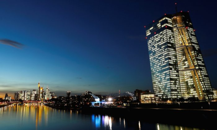 The skyline with its financial district and the headquarters of the European Central Bank (ECB) are photographed in the early evening in Frankfurt, Germany, on Dec. 4, 2018. (Kai Pfaffenbach/Reuters)