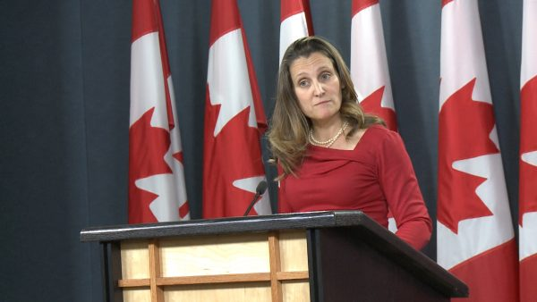 Canada's Foreign Minister Chrystia Freeland speaks to reporters at a press briefing in Ottawa, Canada on Dec. 12, 2018.