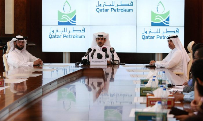 Saad Al Kaabi, chief executive of Qatar Petroleum, speaks to reporters in Doha, Qatar April 3, 2017. (Naseem Zeitoon/Reuters)