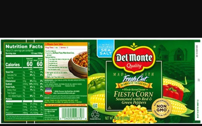 """Del Monte has recalled cans of """"Fiesta Corn seasoned with red & green peppers"""" from 25 states and overseas, it announced on Dec. 12, 2018. (Del Monte)"""