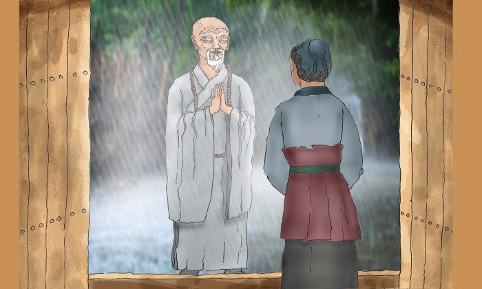 The old monk asked the servant for shelter at the manor. (Illustration by Sun MIngguo/The Epoch TImes)