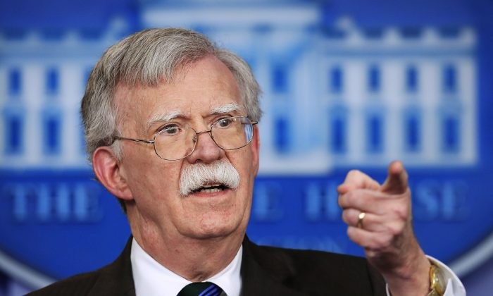 National security adviser John Bolton speaks to reporters during the daily press briefing in the Brady press briefing room at the White House in Washington DC on Nov. 27, 2018. (Manuel Balce Ceneta/AP)