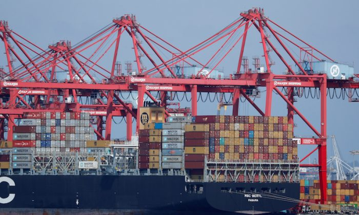 A container ship is shown at port in Long Beach, California, on July 16, 2018.        (Mike Blake/Reuters)