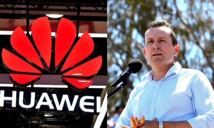 L: Huawei Logo. R: Mark McGowan in Perth, Australia on Feb. 1, 2014. (L: David Becker/Getty Images. R: Paul Kane/Getty Images)