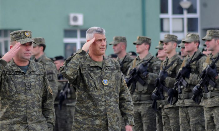 Kosovo's President Hashim Thaci attends a ceremony of security forces a day before parliament's vote on whether to form a national army, in Pristina, Kosovo, Dec. 13, 2018. (Reuters/Laura Hasani)