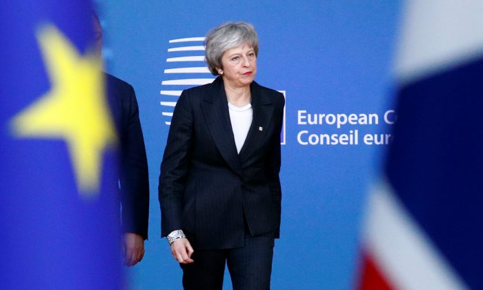British Prime Minister Theresa May arrives at a European Union leaders summit in Brussels, Belgium on Dec. 13, 2018. (Reuters/Francois Lenoir)