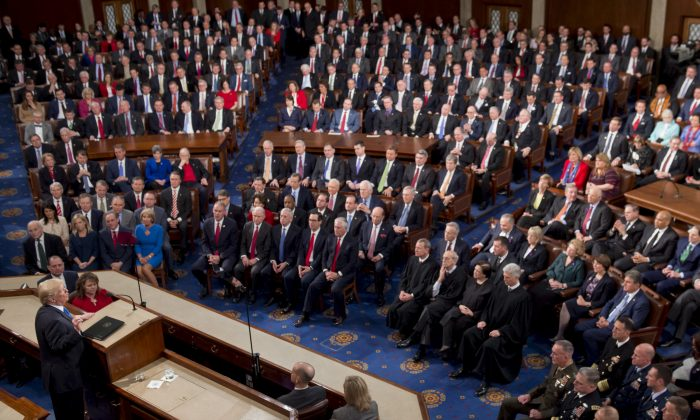 President Donald Trump speaks during the State of the Union Address before a Joint Session of Congress at the US Capitol in Washington on Jan. 30, 2018. (Saul Loeb/AFP/Getty Images)