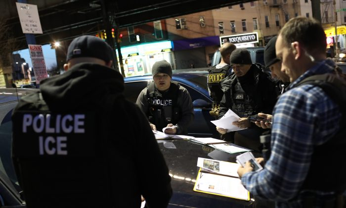 ICE officers prepare for an operation to arrest illegal immigrants in New York City on April 11, 2018. (John Moore/Getty Images)