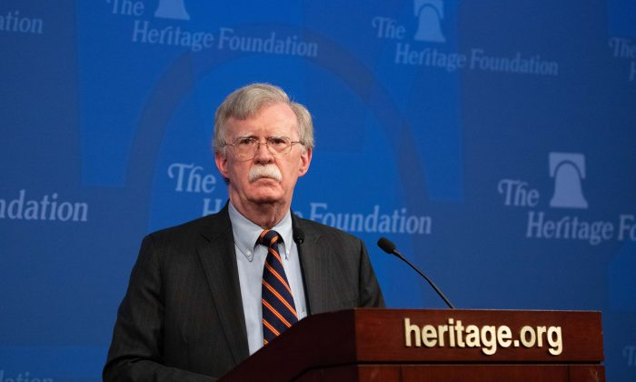 National Security Adviser John Bolton unveils the Trump Administration's Africa strategy at The Heritage Foundation in Washington on Dec. 13, 2018. (Samira Bouaou/The Epoch Times)