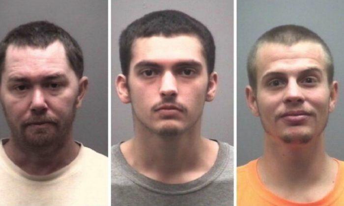 L-R: Sean Damion Castorina, Shannon Douglas Gurkin, and Dakota Lee Marek. All the men face charges in connection with a bomb plot to free Castorina from jail. (Alamance County Sheriff's Office)