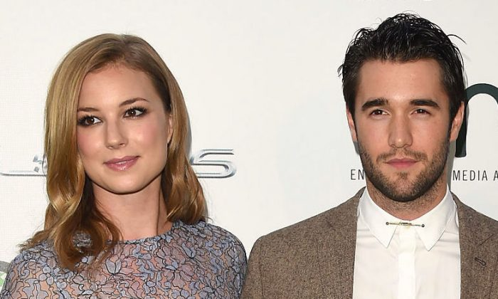 Emily VanCamp and Joshua Bowman, attend the 24th Annual Environmental Media Awards at Warner Bros. Studio in Burbank, Calif. on Oct. 18, 2014. The two starred in the ABC drama Revenge from 2011 to 2015. They married in the Bahamas on Dec. 15, 2018. (Jason Merritt/Getty Images for Environmental Media Awards)