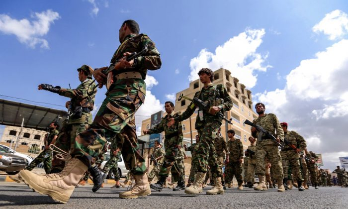 Yemeni Soldiers loyal to the Shiite Huthi rebels march in the capital Sanaa on Oct. 16, 2018 to show support against the Saudi-led intervention in the country. (Mohammed Huwais/AFP/Getty Images)