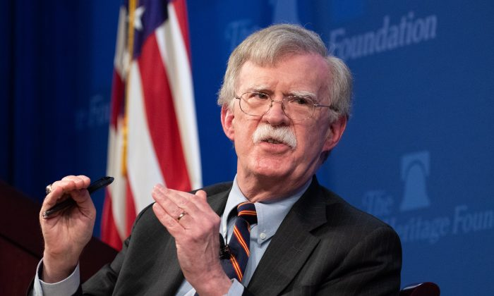 National Security Advisor John Bolton unveils the Trump Administration Africa Strategy at the Heritage Foundation in Washington on Dec. 13, 2018. (Samira Bouaou/The Epoch Times)