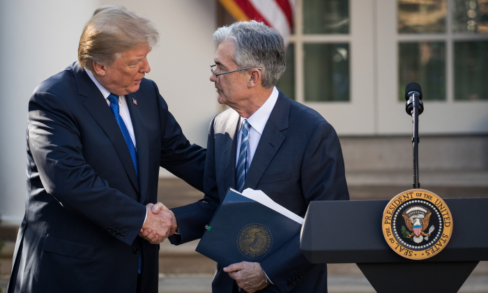 President Donald Trump shakes hands with his nominee for Federal Reserve chairman, Jerome Powell, during a press event in the Rose Garden at The White House in Washington, on Nov. 2, 2017. (Drew Angerer/Getty Images)