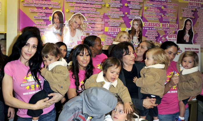 Nadya Suleman and her large family plus helpers launch their signature Milkshake at 'Millions of Milkshakes'  in West Hollywood, Calif., on Nov. 10, 2010. (Toby Canham/Getty Images)
