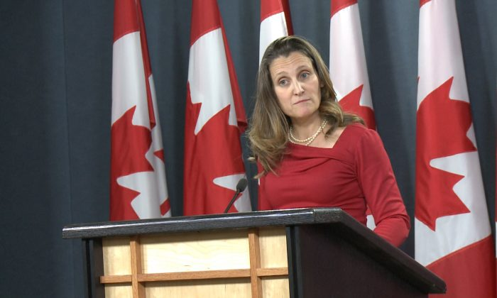 Canada's Foreign Minister Chrystia Freeland speaks to reporters at a press briefing in Ottawa, Canada on Dec. 12, 2018. (Gerry Smith/NTD Television)